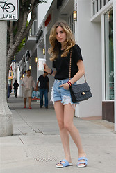 Liz Benichou - Lpd New York Team Slimane Shirt, Levi's® Denim Shorts, Chanel Vintage Bag, Asos Blue Slides - Casual Birthday