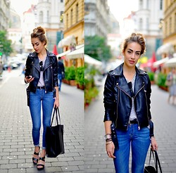Markéta Bártová - Mango Biker Jacket, Mango Jeans, Zara Shopper Bag, Sheinside T Shirt - The Zephyr Song