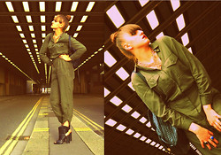Agata Nika - H&M Khaki Jumpsuit, Zara Gold Necklace, Primark Backpack, Zara Ankle Boots, Zara Rings - Industrial glam