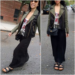 Cleo Y. - La Hearts Cami Fringe Tank, Mackage Minella Biker Jacket, Chanel Vintage Black Classic Quilted Lambskin Flap Bag, Birkenstock Arizona Sandals, Brandy Melville Usa Black Maxi Skirt - Leathered Accent Bikers