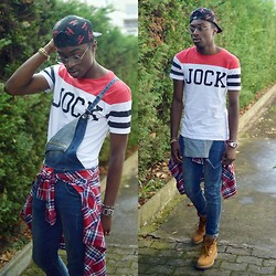 Marc-Henri Ngandu - Boy London 5 Panels, Zara Jock T Shirt, Bizzbee Salopette, Jules Bucheron, Weibrenner Yellow Boots - Jock