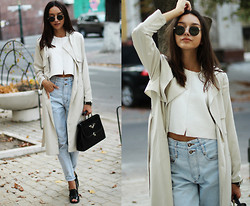 Bea G - Trench, Top, Jeans, Sandals, Bag, Sunglasses - Duster Coat