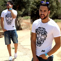 Nabil Asserghine - T Shirt, Short, Watch, Sunglasses, White - Life in color ♥