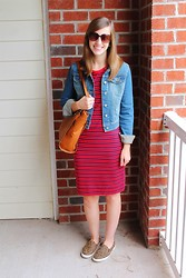 Paige Flamm - Nine West Sunglasses, Target Jacket, Target Dress, Bueno Bag, Old Navy Shoes - Red Shift Take Two