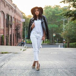 Aimee Kelly - American Eagle White Denim, Guess? Cheetah Heels, Express Leather Jacket - Hello, goodbye