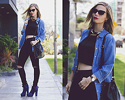 Didi Ibarra Rake - Daniel Wellington Watch, Shop By Pink Chick Love Necklace, Lola By Melissa Del Solar Booties, Mango Crop Top, Zara Ripped Black Jeans - Back to Black