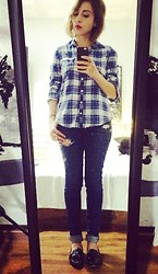 Astrid Baudelaire - American Eagle Blue Tartan Shirt, Hollister Dark Blue Skinny Jeans, Zara Black Patent Shoes - Rainy morning