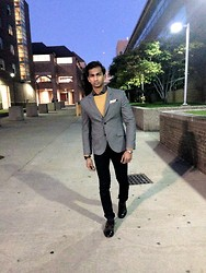 Viswanath Swamy - Armani Exchange Marled Blazer, Banana Republic Crew Sweater, Express Geometric Shirt, Movado Watch, Naked And Famous Dark Denim, John Varvatos Dress Wintips - A Stroll at Night