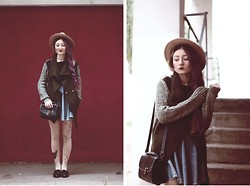 ♡Anita Kurkach♡ - Sheinside Sweater, Romwe Skirt, Romwe Tights, Sheinside Bag, Asos Hat, New Look Loafer - Green Coat!