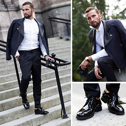 Tomasz Joziewicz - Hugo Boss Modern Biker Jacket, Hugo Boss Pleated Trousers, Minna Heino Dress Shoes, Hackett London Leather Gloves, Hugo Boss Shirt, Calvin Klein Watch - All for Hugo