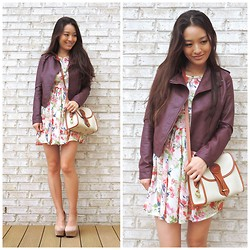 Kimberly Kong - Aeropostale Jacket, Others Follow Dress, Dooney & Bourke Bag, Deb Wedges - Summer to Fall