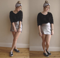 Chanel Q. - Asos Headband, River Island Fluffy Jumper, H&M Metallic Skirt, Vans - SILVER