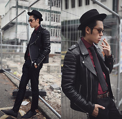 Mike Quyen - Boda Skins Biker Leather Jacket, Triwa Sunglasses, H&M Shirt And Tie - La veste en cuir ( more on www.quyenmike.com)