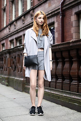 Hannah Louise - Primark Grey Trench Coat, Choies Pinstripe Two Piece, Monki Cross Body Bag, Nike Roshe Runs - A Few Shades of Grey