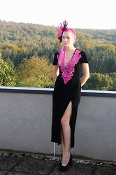 Susan Dollparts - Macys Fascinator, Velvet Vintage Dress, Jeffrey Campbell Velvet Heels - Vintage Teaparty