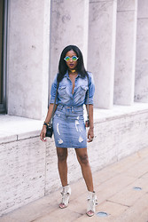 Ria Michelle - Asos Exaggerated Metal Bridge Round Sunglasses, Guess? Slim Fit Denim Shirt In Fiddle Wash, Standards & Practices Denim Pencil Skirt, Alexander Wang Freja Booties - Double-Denim Situation