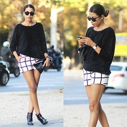 Fadela MECHERI - Saint Laurent Sunglasses, Ikks Sweater, Jennyfer Shorts, Office London Booties - PARISIAN LOOK