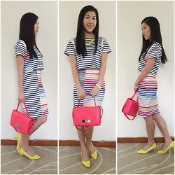 Alex Hui - Sheinside Multicoloured Striped Top And Skirt Set, Kate Spade Neon Pink Bag, Vincci Neon Yellow Shoes, Twentyeight Lane Neon Yellow Necklace - Rainbow hues