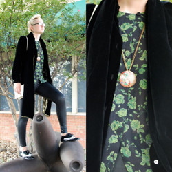 Kristin Fraley - Kate Spade Neutral Multi Toned Frames, N/A Vintage Black And Rouge Floral Earrings, N/A Multi Colored Celtic Bird Pin Necklace, Preston & York Vintage Styled Cream Colored Snap Closure Over The Shoulder Purse, Aqua Black Matte Leggings, Chaus Black And Green Roses Print Long Sleeved Button Down Top, Ann Taylor Black Rayon And Silk Buttoned Down Dress Jacket, Forever 21 B/W Shined Vintage Styled, N/A Faux Black Velvet And Gold Dress Scarf/Wrap - The Dandy