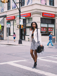 Ria Michelle - Express Textured Knit Moto Jacket, Style Stalker Dodger Crop Top, Express High Waist Houndstooth Full Skirt, Stella Mccartney Two Tone Thick Platform Ankle Boot - Let's Get This Work