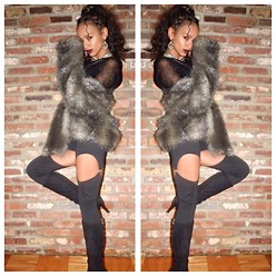 RAY RAY - Guess? Knee High Boots, H&M Fur Jacket, Express Sheer Sweater - Autumn //