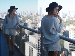 Lauren D - Kimchi Blue Lace Shorts, Aldo Black Booties - My city, my city