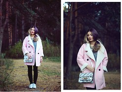 ♡Anita Kurkach♡ - Sheinside Coat, Young Hungry Free Bag, Young Hungry Free Necklace, Young Hungry Free Shoes, New Look Jeans, Romwe Sweater - Pink Coat!