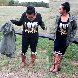 Krystle M - Victoria's Secret Pink Love Shirt, American Eagle Dark Skinnies, Francesca's Cognac Printed Boots, H&M Army Jacket - FIRST OF FALL