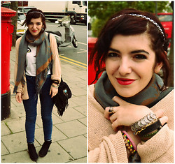 Andreea S. - H&M Jeans, H&M Cardigan, Vintage Bag, Stradivarius T Shirt - London Weather