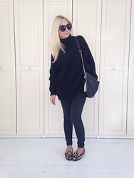Radana Adachi - Vintage Shoes, Gina Tricot Slim Jeans, Vintage Oversize, Zara Bag, Céline Sunglasses - Just total black