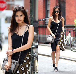 Adriana Gastélum - Topshop Slit Pencil Skirt, Botkier Leroy Grey Bag, Céline Sunnies - Effortless & chic