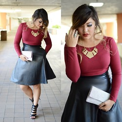 Tiffany Lam - Forever 21 Pu Midi Skirt, Forever 21 Long Sleeve Crop Top, Forever 21 Pearl Beaded Clutch, Zooshoo Cutout Heels - Crimson Escapades