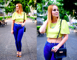 Nery Hdez - Rosewholesale Crop Top, Mango Bag, Stradivarius Jeans, Modress Wedges, C&A Necklace - LIME