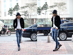 INWON LEE - Byther Fedora, Giorgio Armani Jacket, Byther Shirt, Zara Belt, Byther Skinny Jeans, Gucci Shoes - Fedora Guy