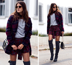 Michèle Krüsi - C&A Top, C&A Coat, C&A Shorts, Valentino Bag, Mai Piu Senza Over The Knee Boots, Viu Eyewear Sunnies - Double Tartan
