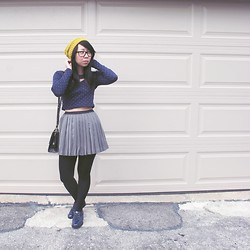 Betty; L - Yesstyle Polka Dot Crop Top, Yesstyle Pleated Skirt, Sam Edelman Patent Navy Loafers - It's Fall Baby