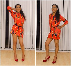 Natassia - Steve Madden Red Pumps - Groovy dress burning the eyes!