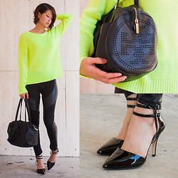 Julie R - Tory Burch Perforated Logo Satchel, Antonio Melani Black Patent Heels, Forever 21 Neon Yellow Sweater, Ktoo Faux Leather Leggings - Stopping Traffic