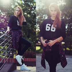 Katarzyna KOKA Konderak - Blouse, Shirt, H&M Pants, Nike - Nike Air Force & plaid shirt.