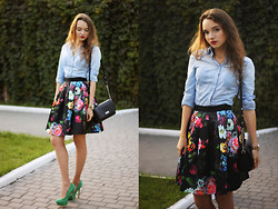Alexandra Erokhina - Warehouse Jeans Shirt, Ted Baker Floral Skirt, Asos Heels, Ecco Bag, Michael Kors Watches - Bring flowers in your life