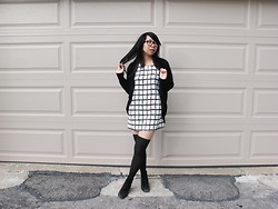 Betty; L - The Kind Exchange Check Dress, Spoof Cardigan, Yesstyle Tights, Vintage Black Suede Zip Up Booties - Check mate