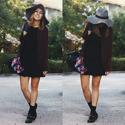 Duygu Trgt - H&M Hat, Mango Dress, Hotic Shoes, Bershka Cardigan, Zara Bag - Burgundy