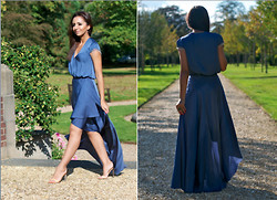 Celebrity Outfitter - H&M Dress And Skirt Combo - Smokin Blue