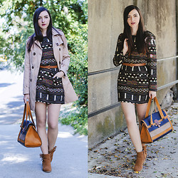 Nicoleta P. - Sheinside Aztec Print Dress, Persun Trench Coat, Stradivarius Leather Bag - To Perfect Days