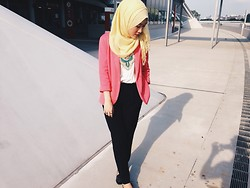 Liyana - New Look Black Pants, Forever 21 Pink Blazer, Forever 21 Studded Flats - Sunshine
