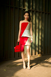 Janicee Chen - Givenchy Earrings, Josh Goot Top And Skirt, Céline Bag, Alexander Wang Heels - Color Block Dress from Australia Designer