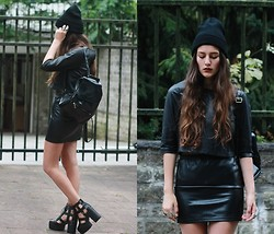 E V - Hollow Cut Platform Boots, Leather Top, Leather Backpack - LEATHER