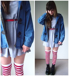 Little Skelter - Dr. Martens Doc, Valley Girl Grey Dress, Valley Girl Denim Jacket - Stripes for a rainy day