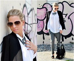 Fashiontwins - Zara Blazar, Asos Jogging, Hugo Boss Bluse, Zara Necklace, H&M Sunny, H&M Bag - Classy Jogging