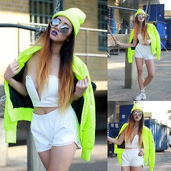 Louise Xin - Neon Bomber Jacket, Neon Beanie, Nasty Gal White Cropped Top, White Shorts, White Sandals - Ain't got time for bullshit